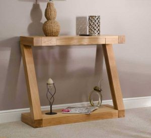 Homestyle Z Solid Oak 1 Drawer Console Hall Table