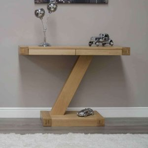 Homestyle Z Solid Oak Modern Console Table Console Hall Table with 2 Drawers
