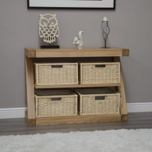 Homestyle Z Solid Oak 4 Basket Console Hall Table | Fully Assembled