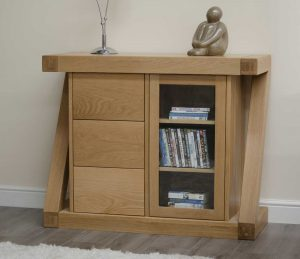 Homestyle Z Solid Oak Small Sideboard with 3 Drawers and 1 Door | Fully Assembled