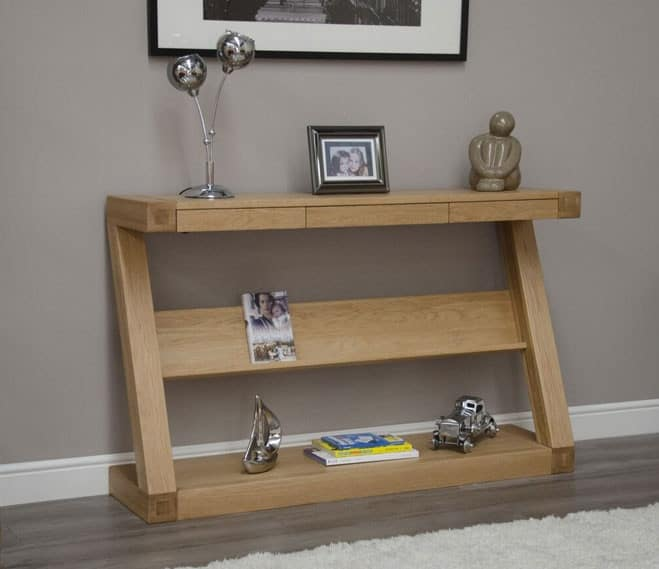 Homestyle Z Solid Oak Console Hall Table with 3 Drawers and Shelf