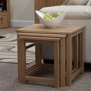 Homestyle Opus Oak Lyon Triple Nest Of Tables | Fully Assembled