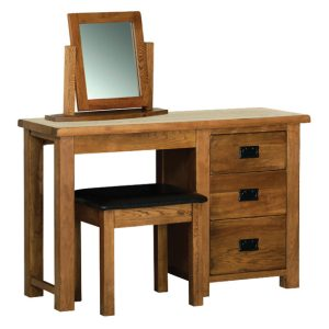 Devonshire Rustic Oak Single Pedestal Dressing Table (Only)