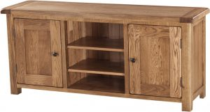 Country Rustic Oak Large TV Cabinet | Fully Assembled