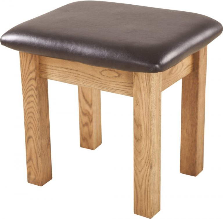 Country Rustic Oak Dressing Table Stool
