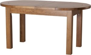 Country Rustic Oak Large D End Extending Dining Table