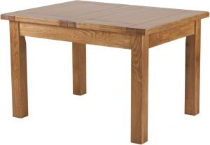 Country Rustic Oak 4′ Extending Dining Table 1 Leaf