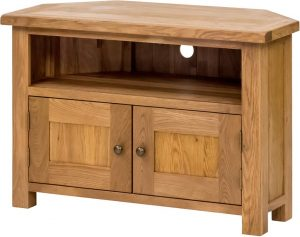 Suffolk Solid Oak Corner TV Unit with Doors  | Fully Assembled