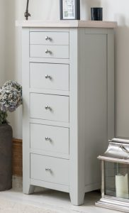 Hampshire Light Grey With Chalked Oak Tops 5 Drawer Wellington Chest | Fully Assembled
