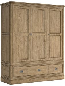 Versailles French Oak Triple Wardrobe With Drawers