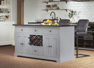 Oxford Kitchen Island Painted Grey with Black Granite Worktop | Fully Assembled