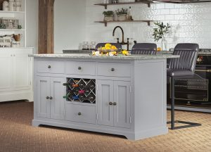 Oxford Kitchen Island Painted Grey with Grey Granite Worktop | Fully Assembled