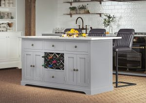 Oxford Kitchen Island Painted Grey with White Granite Worktop | Fully Assembled