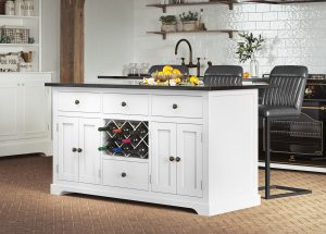 Oxford Kitchen Island Painted White with Black Granite Worktop | Fully Assembled