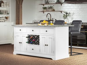 Oxford Kitchen Island Painted White with Grey Granite Worktop | Fully Assembled