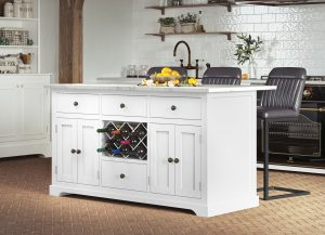 Oxford Kitchen Island Painted White with White Granite Worktop | Fully Assembled