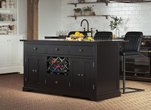 Oxford Kitchen Island Painted Black with Black Granite Worktop | Fully Assembled