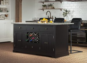 Oxford Kitchen Island Painted Black with Grey Granite Worktop | Fully Assembled
