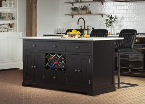 Oxford Kitchen Island Painted Black with White Granite Worktop | Fully Assembled