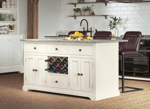 Oxford Kitchen Island Painted Cream with Grey Granite Worktop | Fully Assembled