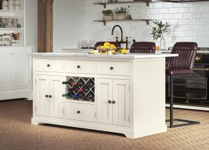 Oxford Kitchen Island Painted Cream with White Granite Worktop | Fully Assembled