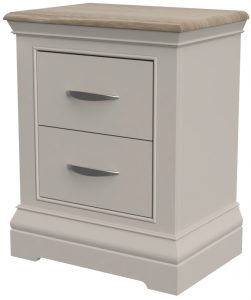 Cobble Light Mid Grey Painted 2 Drawer Bedside Cabinet | Fully Assembled