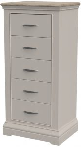 Cobble Light Mid Grey Painted 5 Drawer Wellington Chest  | Fully Assembled