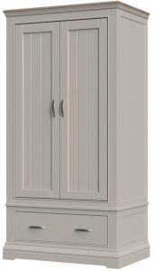 Cobble Light Mid Grey Painted 2 Door Wardrobe with Drawer