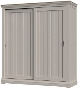 Cobble Light Mid Grey Painted Sliding Door Double Wardrobe