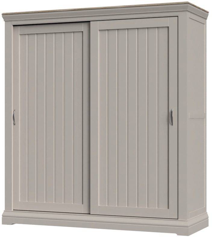 Cobble Light Mid Grey Painted Sliding Door Double Wardrobe