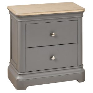 Pebble Painted 2 Drawer Bedside Cabinet Slate Grey | Fully Assembled