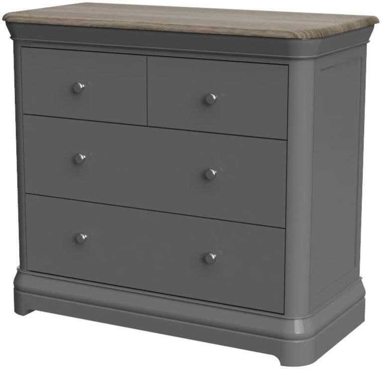 Pebble Painted 2+2 Chest of Drawers Slate Grey   Fully Assembled
