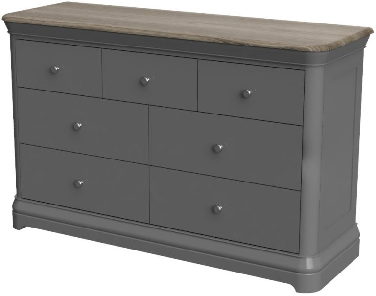 Pebble Painted 3 over 4 Chest of Drawers Slate Grey    Fully Assembled