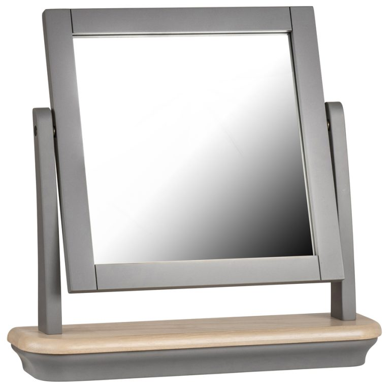 Pebble Painted Dressing Table Mirror Slate Grey | Fully Assembled