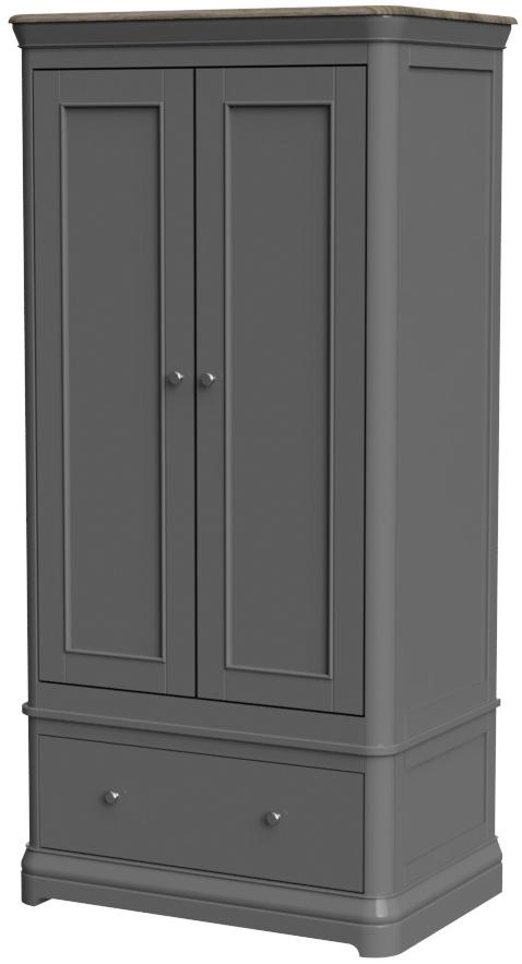 Pebble Painted 2 Door Wardrobe with Drawer Slate Grey