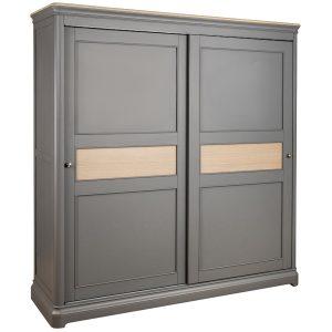 Pebble Painted Sliding Door Double Wardrobe Slate Grey