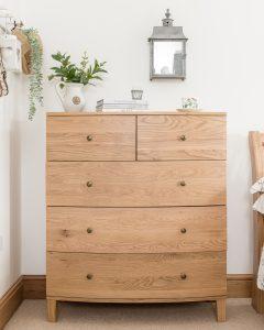 Dakota Oak 2 Over 3 Chest of Drawers  | Fully Assembled
