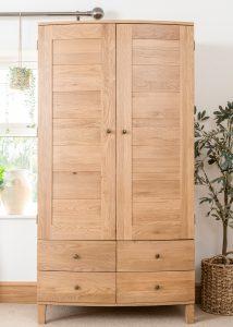 Dakota Oak  2 Door 4 Drawer Wardrobe