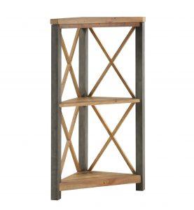 Urban Elegance Reclaimed Small Corner Bookcase| Fully Assembled