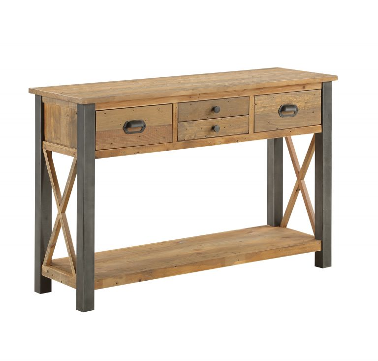 Urban Elegance Reclaimed Console Table   Fully Assembled