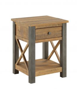 Urban Elegance Reclaimed Lamp Table with Drawer  | Fully Assembled