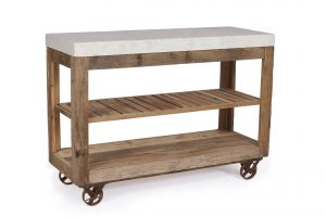 Cosgrove Reclaimed Wood Large Marble Top Open Kitchen Island