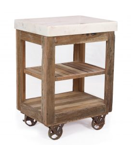 Cosgrove Reclaimed Wood Small Marble Top Open Kitchen Island
