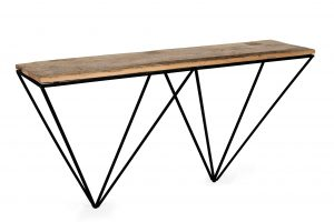 Cosgrove Reclaimed Wood Console Table with Metal Geometric Frame | Fully Assembled