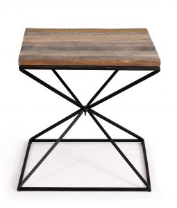Cosgrove Reclaimed Wood Side Table with Metal Geometric Frame | Fully Assembled