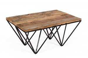 Cosgrove Reclaimed Wood Coffee Table with Metal Geometric Frame | Fully Assembled