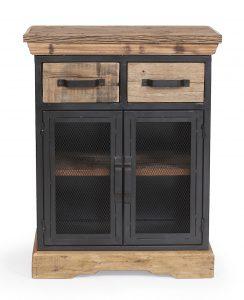 Cosgrove 2 Door Reclaimed Wood Cabinet With Mesh Metal Doors | Fully Assembled