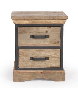 Cosgrove Reclaimed Wood & Metal 2 Drawer Side Table | Fully Assembled