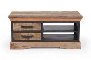 Cosgrove Reclaimed Wood & Metal 2 Drawer Coffee Table | Fully Assembled