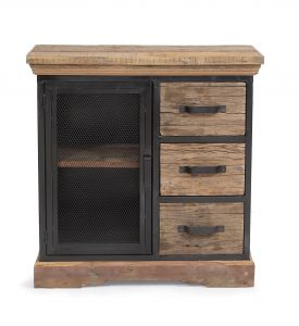 Cosgrove Reclaimed Wood 3 Drawer Cabinet with Mesh Metal Door | Fully Assembled